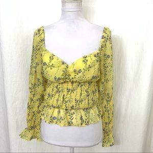Fashion Nova Peasant Crop Top Yellow  Elastic XL